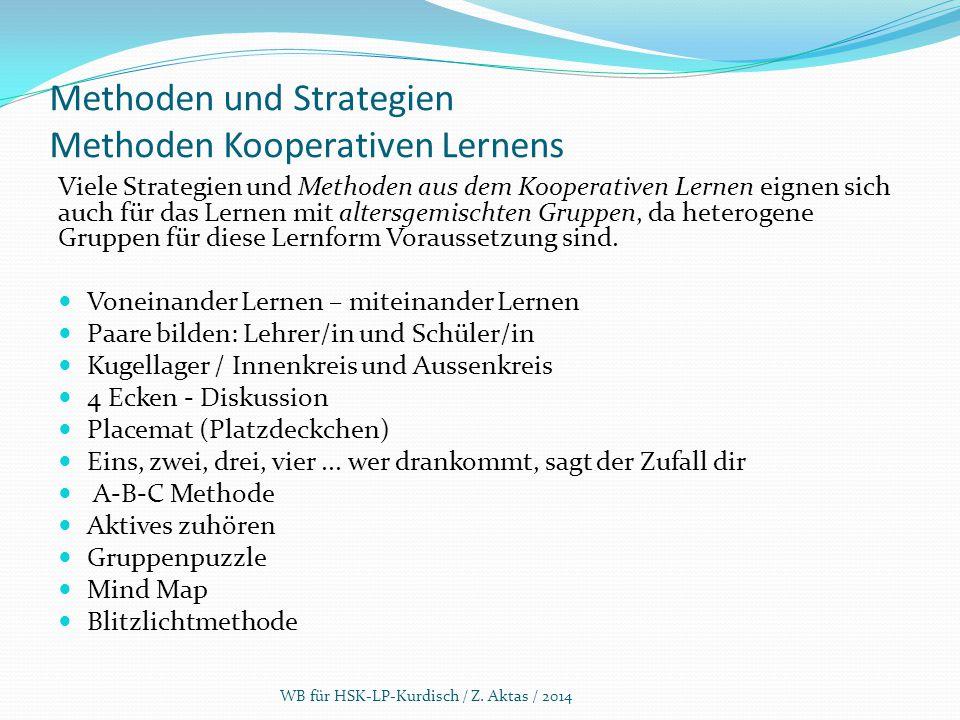 Methoden und Strategien Methoden Kooperativen Lernens Viele Strategien und Methoden aus dem Kooperativen Lernen eignen sich auch für das Lernen mit al