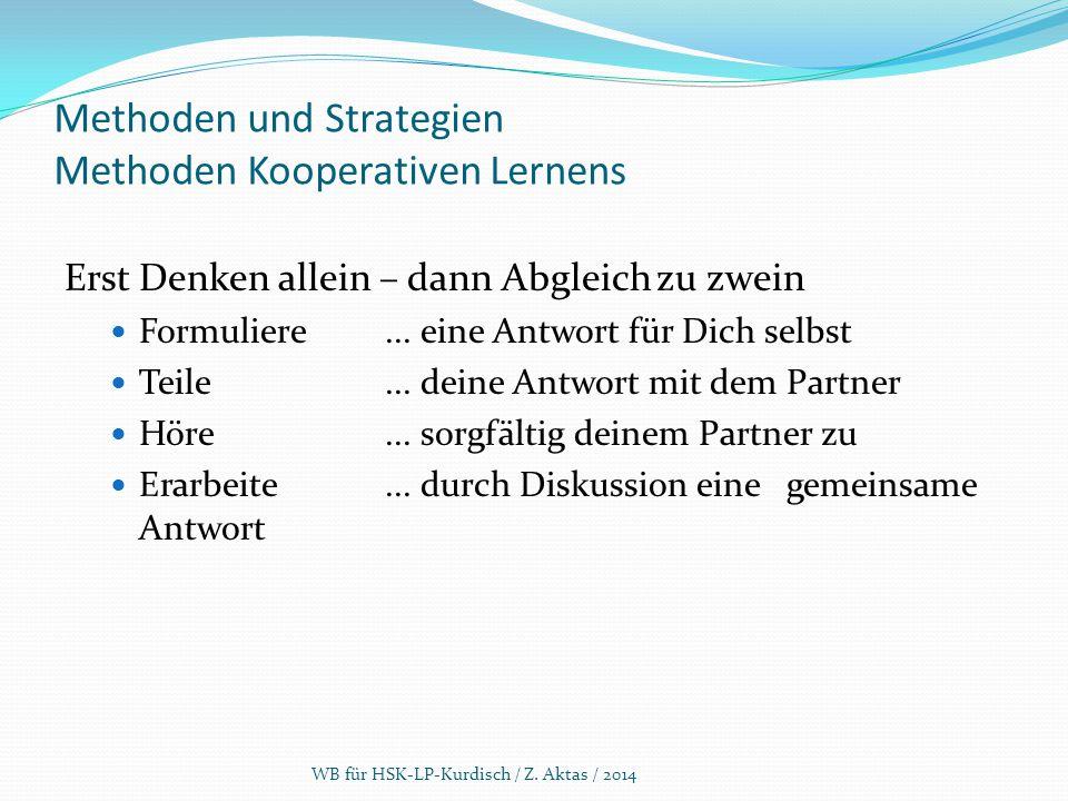 Methoden und Strategien Methoden Kooperativen Lernens Erst Denken allein – dann Abgleich zu zwein Formuliere... eine Antwort für Dich selbst Teile...