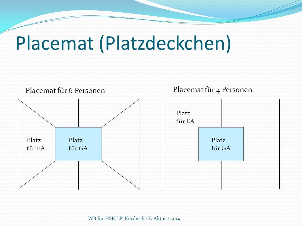 Placemat (Platzdeckchen) WB für HSK-LP-Kurdisch / Z. Aktas / 2014 Placemat für 6 Personen Placemat für 4 Personen Platz für EA Platz für GA