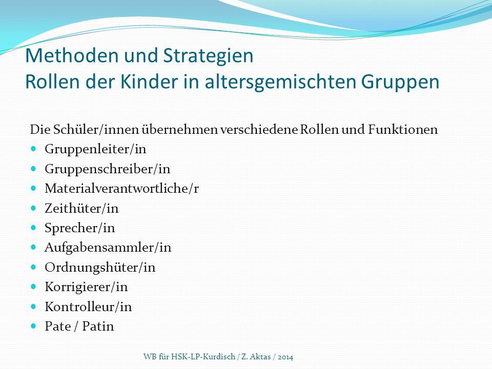 Methoden und Strategien Rollen der Kinder in altersgemischten Gruppen Die Schüler/innen übernehmen verschiedene Rollen und Funktionen Gruppenleiter/in