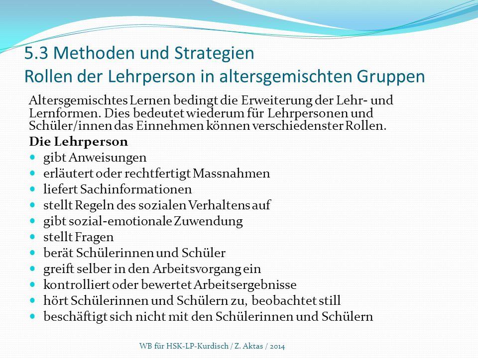 5.3 Methoden und Strategien Rollen der Lehrperson in altersgemischten Gruppen Altersgemischtes Lernen bedingt die Erweiterung der Lehr- und Lernformen