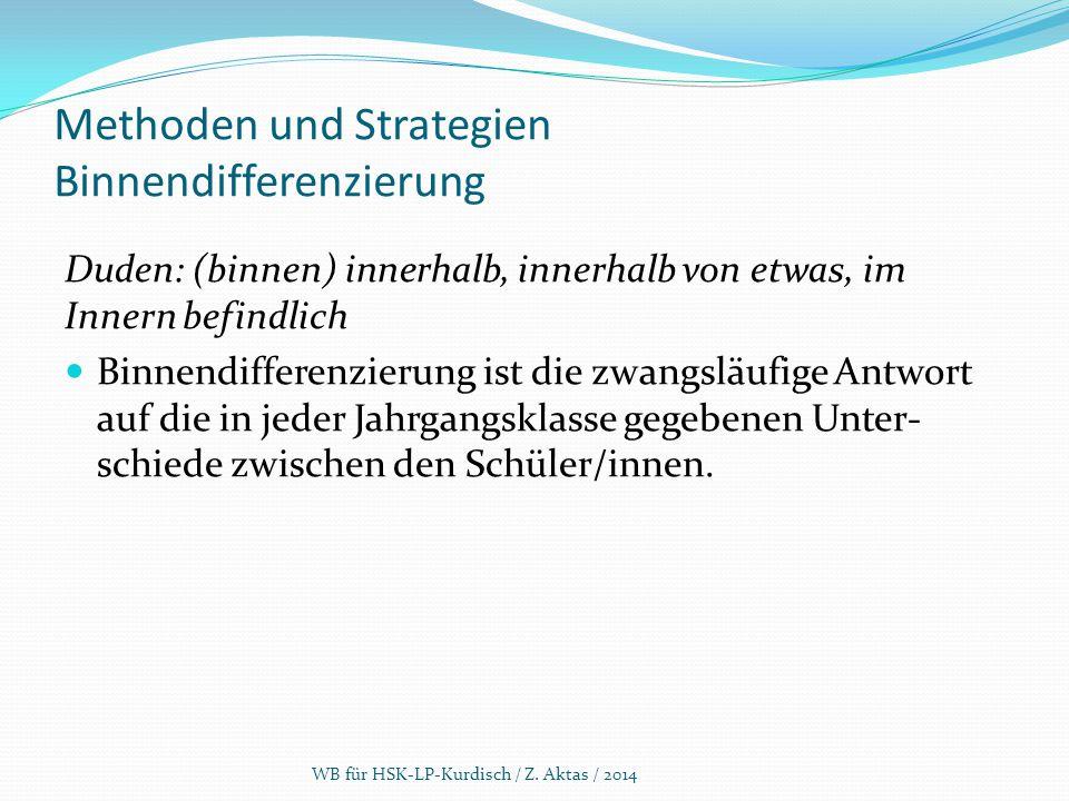 Methoden und Strategien Binnendifferenzierung Duden: (binnen) innerhalb, innerhalb von etwas, im Innern befindlich Binnendifferenzierung ist die zwang