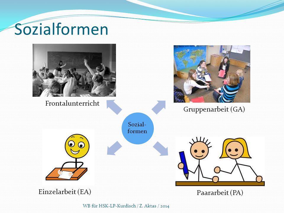 Sozialformen WB für HSK-LP-Kurdisch / Z. Aktas / 2014 Frontalunterricht Gruppenarbeit (GA) Einzelarbeit (EA) Paararbeit (PA) Sozial- formen
