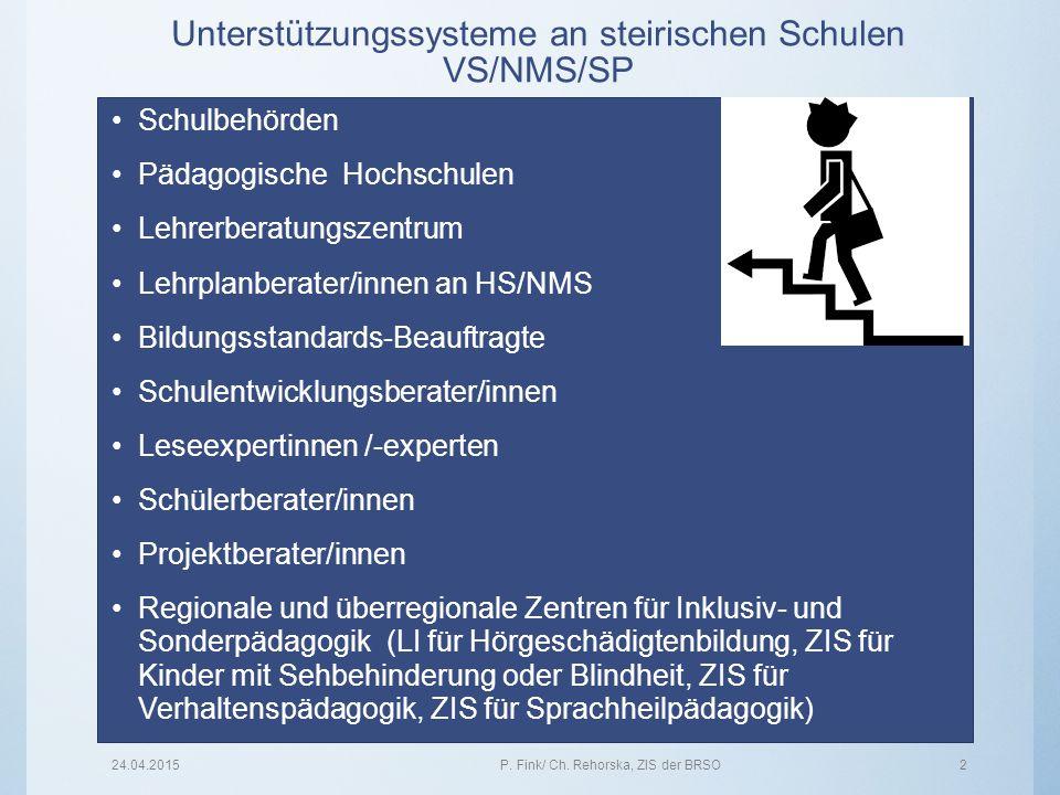 Unterstützungssysteme an steirischen Schulen VS/NMS/SP Schulbehörden Pädagogische Hochschulen Lehrerberatungszentrum Lehrplanberater/innen an HS/NMS B