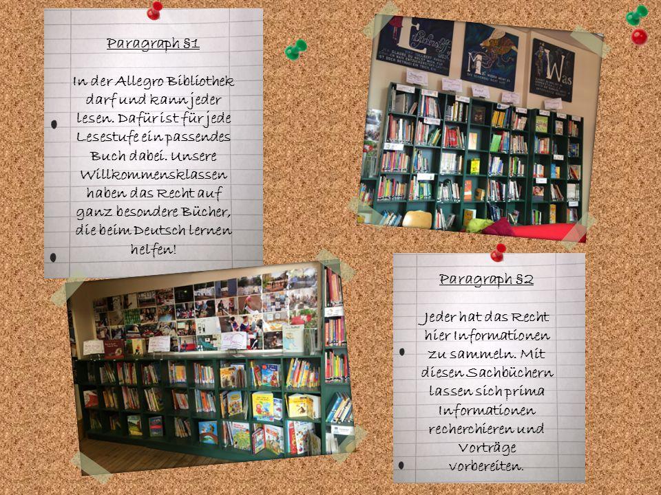 Paragraph §1 In der Allegro Bibliothek darf und kann jeder lesen. Dafür ist für jede Lesestufe ein passendes Buch dabei. Unsere Willkommensklassen hab
