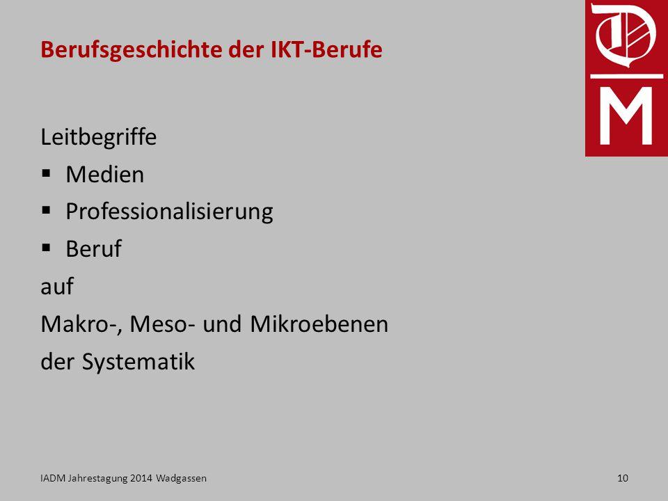 Berufsgeschichte der IKT-Berufe Leitbegriffe  Medien  Professionalisierung  Beruf auf Makro-, Meso- und Mikroebenen der Systematik 10IADM Jahrestagung 2014 Wadgassen