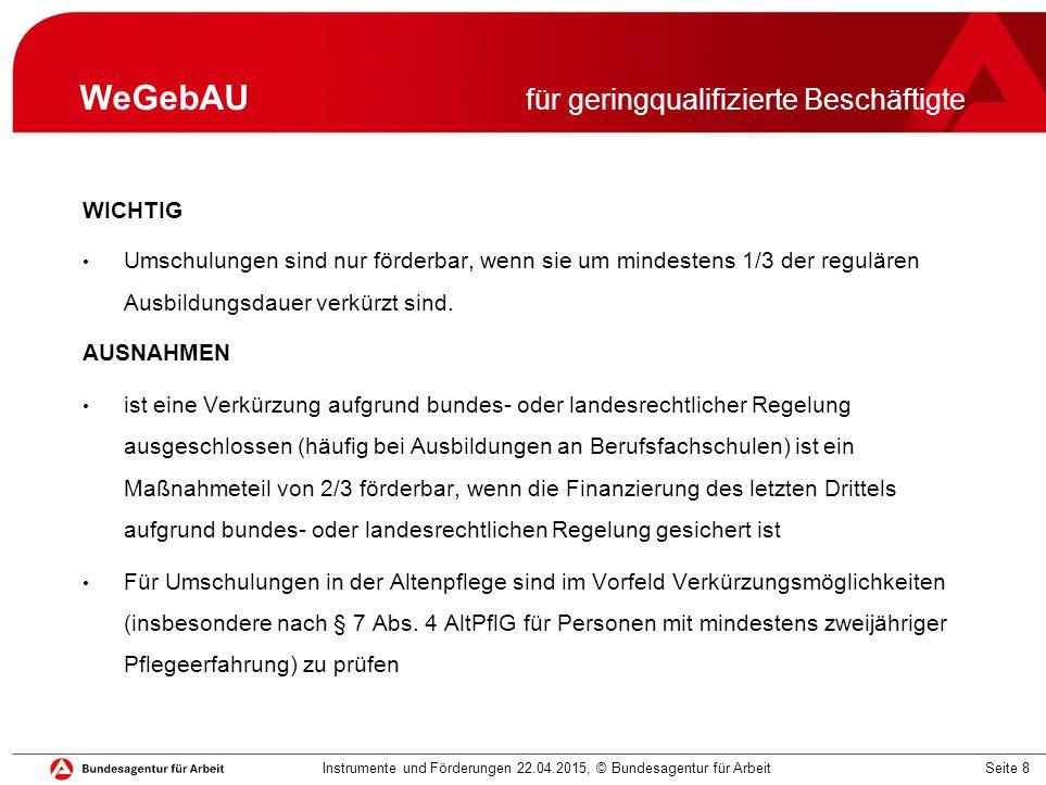 Seite 19 Ihre Fragen Instrumente und Förderungen 22.04.2015, © Bundesagentur für Arbeit