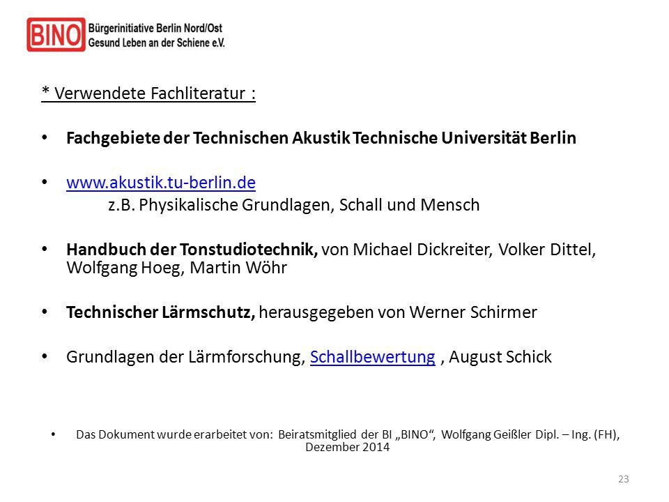 * Verwendete Fachliteratur : Fachgebiete der Technischen Akustik Technische Universität Berlin www.akustik.tu-berlin.de z.B. Physikalische Grundlagen,