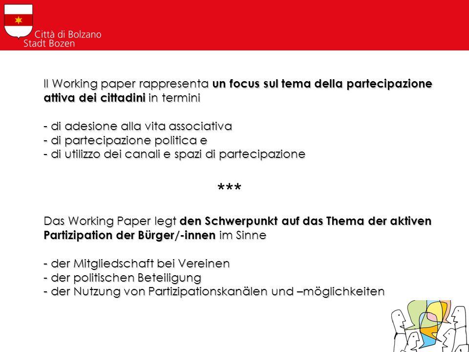 Il Working paper rappresenta un focus sul tema della partecipazione attiva dei cittadini in termini - di adesione alla vita associativa - di partecipa