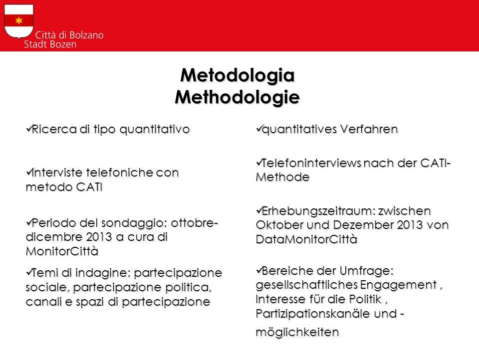 Metodologia Methodologie Ricerca di tipo quantitativo Ricerca di tipo quantitativo Interviste telefoniche con metodo CATI Interviste telefoniche con m