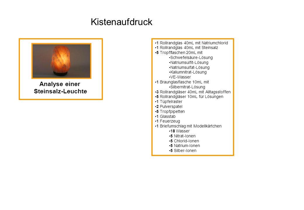 Analyse einer Steinsalz-Leuchte 1 Rollrandglas 40mL mit Natriumchlorid 1 Rollrandglas 40mL mit Steinsalz 5 Tropfflaschen 20mL mit Schwefelsäure-Lösung