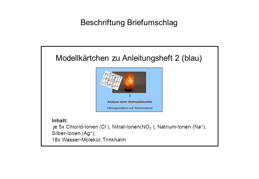 Beschriftung Briefumschlag Modellkärtchen zu Anleitungsheft 2 (blau) Inhalt: je 5x Chlorid-Ionen (Cl - ), Nitrat-Ionen(NO 3 - ), Natrium-Ionen (Na + )
