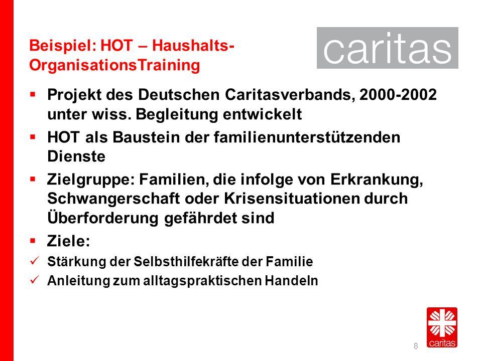 Beispiel: HOT – Haushalts- OrganisationsTraining  Projekt des Deutschen Caritasverbands, 2000-2002 unter wiss. Begleitung entwickelt  HOT als Bauste
