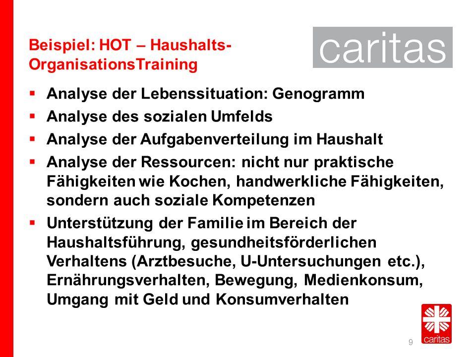 Beispiel: HOT – Haushalts- OrganisationsTraining  Analyse der Lebenssituation: Genogramm  Analyse des sozialen Umfelds  Analyse der Aufgabenverteil