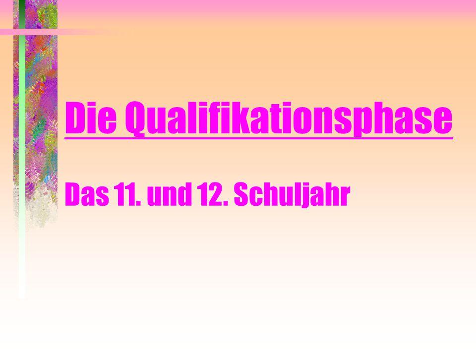 Gesamtqualifikation Die Gesamtqualifikation ergibt sich aus der Addition der Punktsummen 1.