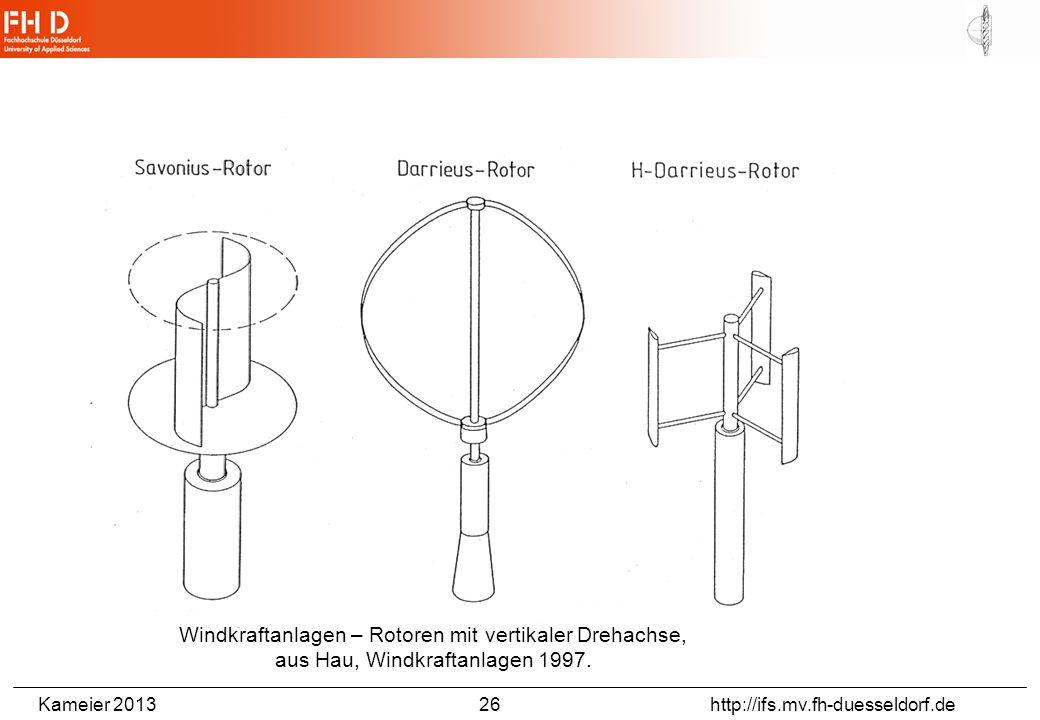 Kameier 2013 26 http://ifs.mv.fh-duesseldorf.de Windkraftanlagen – Rotoren mit vertikaler Drehachse, aus Hau, Windkraftanlagen 1997.