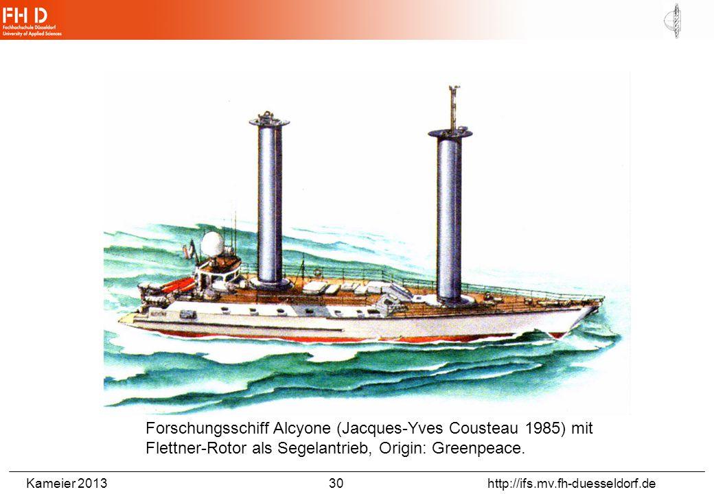 Kameier 2013 30 http://ifs.mv.fh-duesseldorf.de Forschungsschiff Alcyone (Jacques-Yves Cousteau 1985) mit Flettner-Rotor als Segelantrieb, Origin: Gre