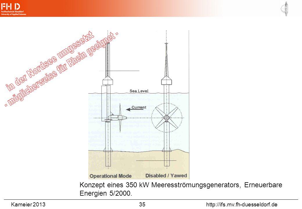 Kameier 2013 35 http://ifs.mv.fh-duesseldorf.de Konzept eines 350 kW Meeresströmungsgenerators, Erneuerbare Energien 5/2000.