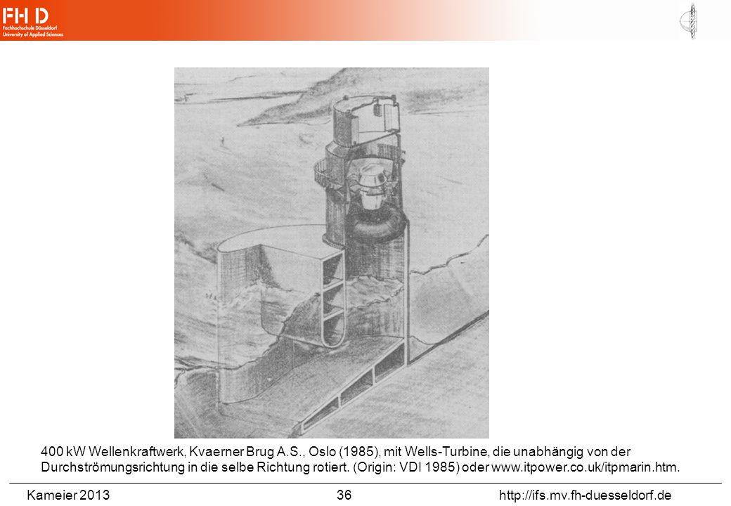 Kameier 2013 36 http://ifs.mv.fh-duesseldorf.de 400 kW Wellenkraftwerk, Kvaerner Brug A.S., Oslo (1985), mit Wells-Turbine, die unabhängig von der Dur