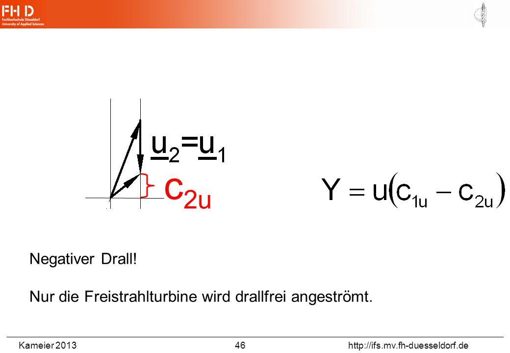 Kameier 2013 46 http://ifs.mv.fh-duesseldorf.de Negativer Drall! Nur die Freistrahlturbine wird drallfrei angeströmt. c 2u