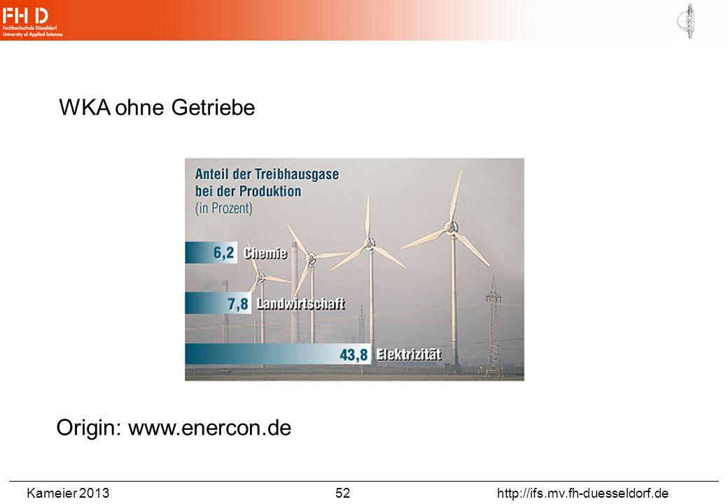 Kameier 2013 52 http://ifs.mv.fh-duesseldorf.de WKA ohne Getriebe Origin: www.enercon.de