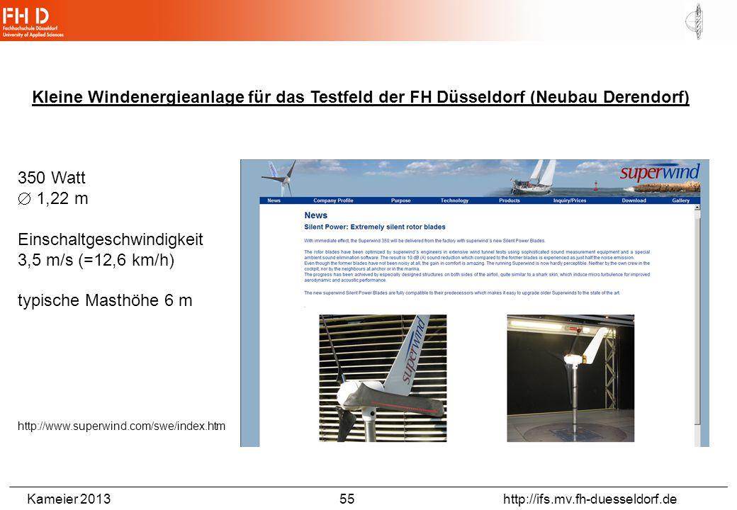 Kameier 2013 55 http://ifs.mv.fh-duesseldorf.de Kleine Windenergieanlage für das Testfeld der FH Düsseldorf (Neubau Derendorf) 350 Watt  1,22 m Einsc