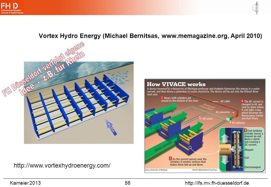 Kameier 2013 56 http://ifs.mv.fh-duesseldorf.de Vortex Hydro Energy (Michael Bernitsas, www.memagazine.org, April 2010) http://www.vortexhydroenergy.c