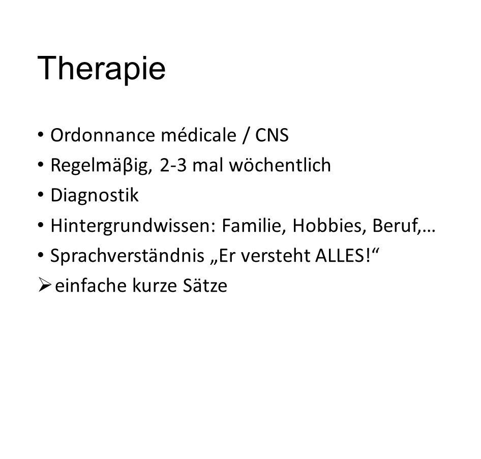 """Therapie Ordonnance médicale / CNS Regelmäβig, 2-3 mal wöchentlich Diagnostik Hintergrundwissen: Familie, Hobbies, Beruf,… Sprachverständnis """"Er verst"""
