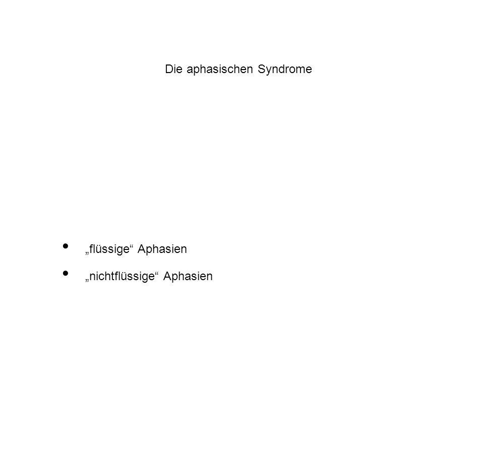 """Die aphasischen Syndrome """"flüssige"""" Aphasien """"nichtflüssige"""" Aphasien"""