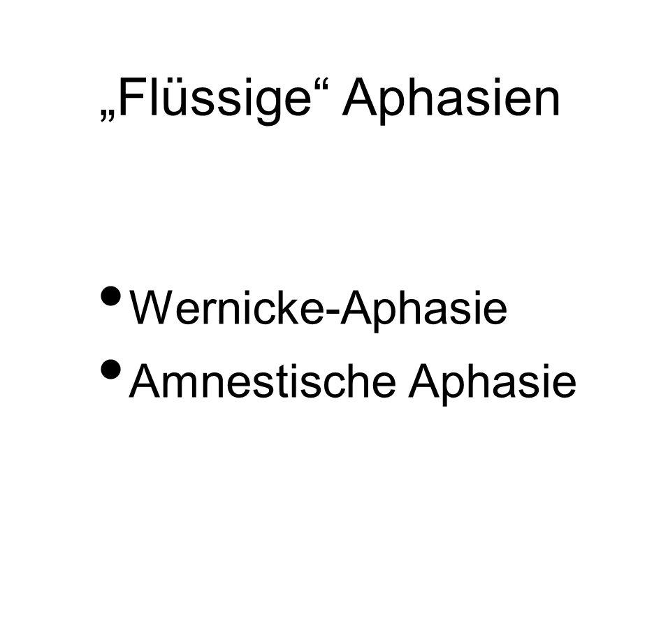 """""""Flüssige"""" Aphasien Wernicke-Aphasie Amnestische Aphasie"""