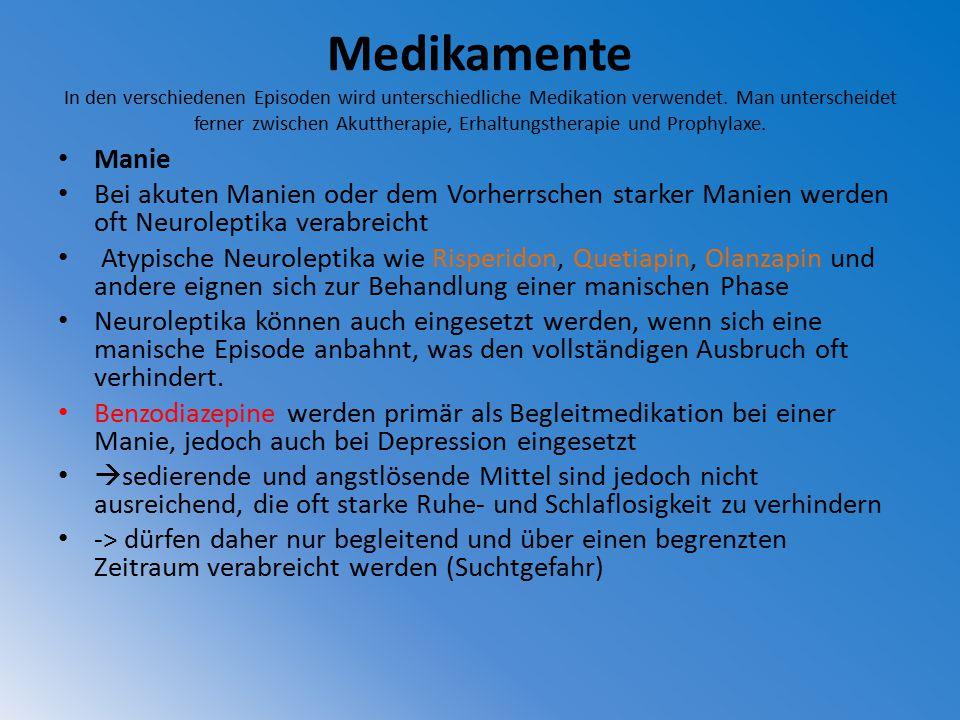 Medikamente In den verschiedenen Episoden wird unterschiedliche Medikation verwendet. Man unterscheidet ferner zwischen Akuttherapie, Erhaltungstherap