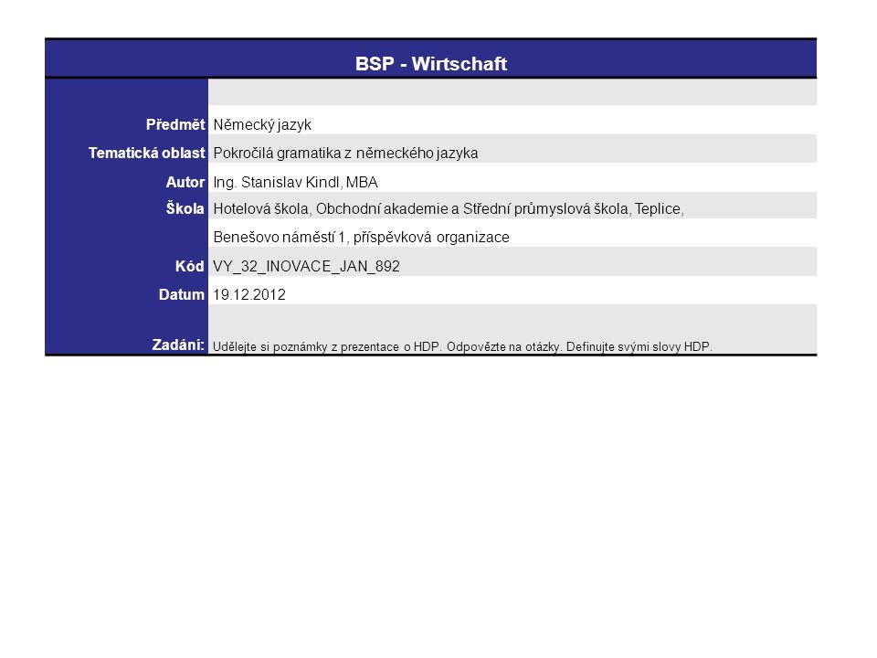 BSP - Wirtschaft PředmětNěmecký jazyk Tematická oblastPokročilá gramatika z německého jazyka AutorIng.