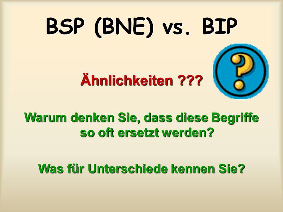 BSP (BNE) vs.BIP Ähnlichkeiten ??. Warum denken Sie, dass diese Begriffe so oft ersetzt werden.