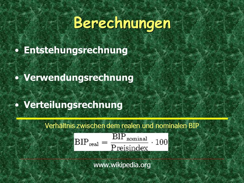 Berechnungen Entstehungsrechnung Verwendungsrechnung Verteilungsrechnung Verh ältnis zwischen dem realen und nominalen BIP www.wikipedia.org