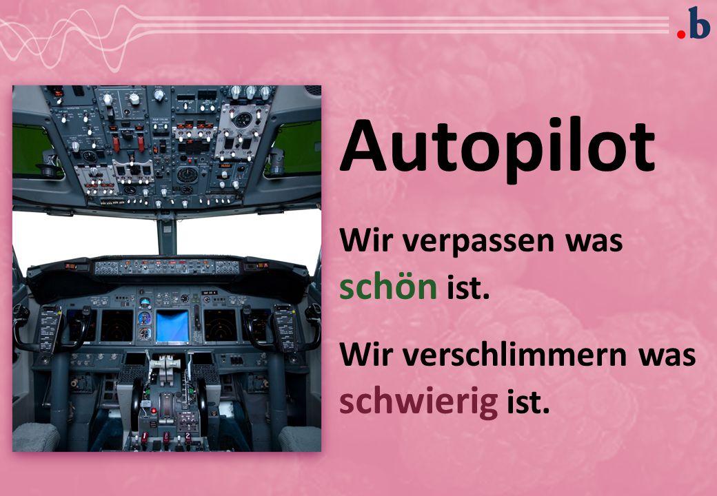 Autopilot Wir verpassen was schön ist. Wir verschlimmern was schwierig ist.