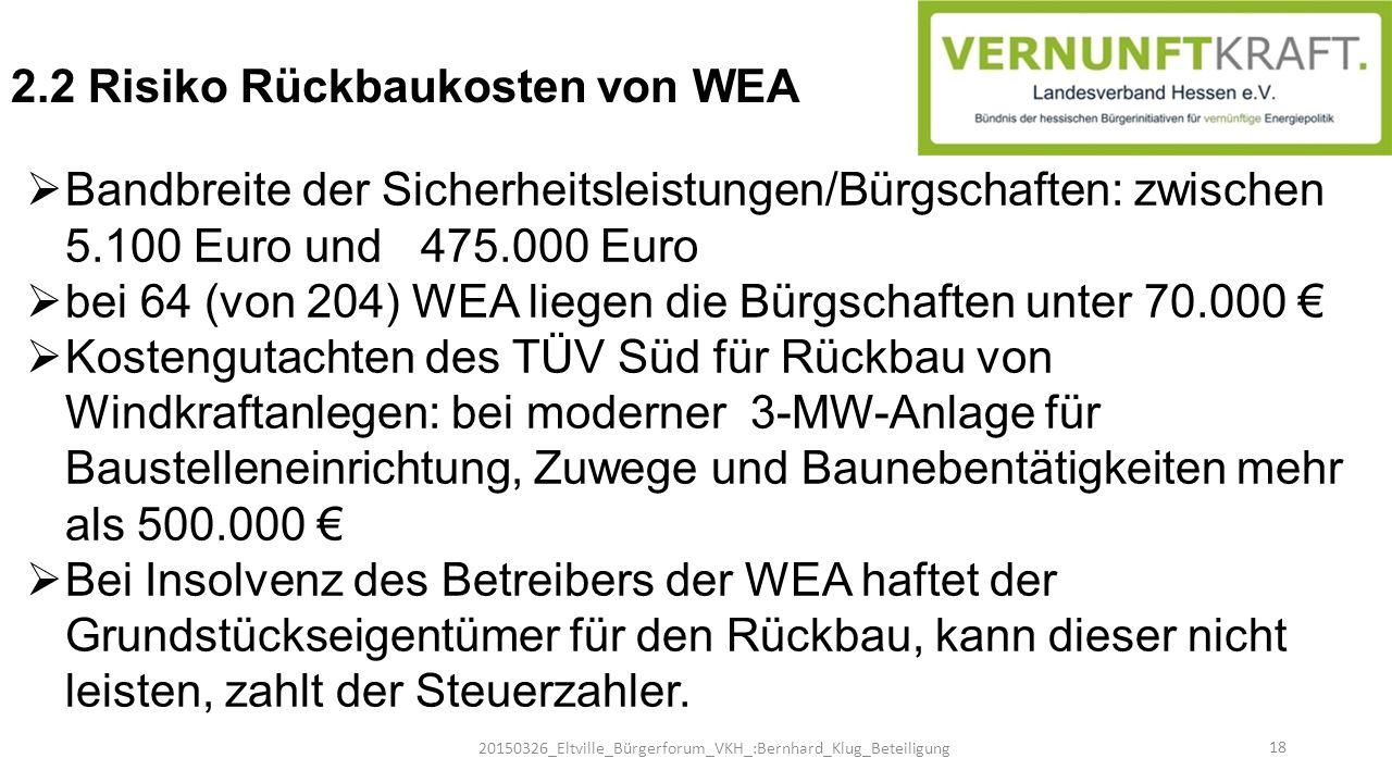  Bandbreite der Sicherheitsleistungen/Bürgschaften: zwischen 5.100 Euro und 475.000 Euro  bei 64 (von 204) WEA liegen die Bürgschaften unter 70.000