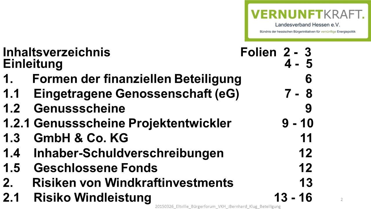 Inhaltsverzeichnis Folien 2 - 3 Einleitung 4 - 5 1. Formen der finanziellen Beteiligung 6 1.1 Eingetragene Genossenschaft (eG) 7 - 8 1.2 Genussscheine