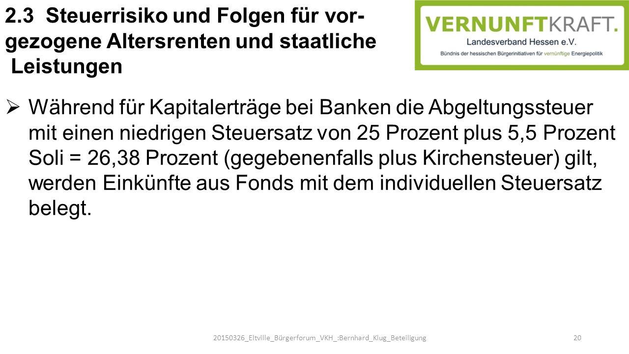  Während für Kapitalerträge bei Banken die Abgeltungssteuer mit einen niedrigen Steuersatz von 25 Prozent plus 5,5 Prozent Soli = 26,38 Prozent (gege