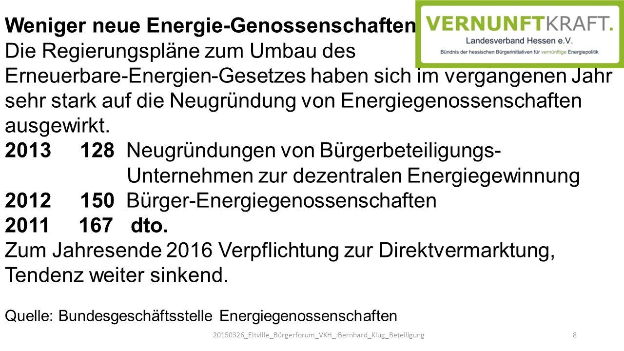 Weniger neue Energie-Genossenschaften Die Regierungspläne zum Umbau des Erneuerbare-Energien-Gesetzes haben sich im vergangenen Jahr sehr stark auf di