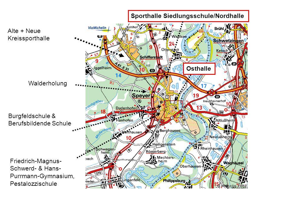 Alte + Neue Kreissporthalle Friedrich-Magnus- Schwerd- & Hans- Purrmann-Gymnasium, Pestalozzischule Osthalle Walderholung Burgfeldschule & Berufsbilde