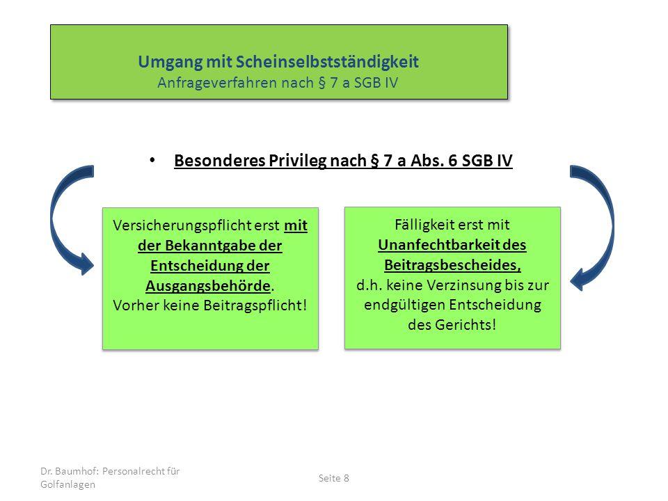 Besonderes Privileg nach § 7 a Abs. 6 SGB IV Dr. Baumhof: Personalrecht für Golfanlagen Seite 8 Versicherungspflicht erst mit der Bekanntgabe der Ents