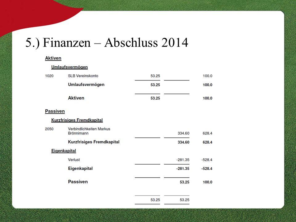 5.) Finanzen – Abschluss 2014
