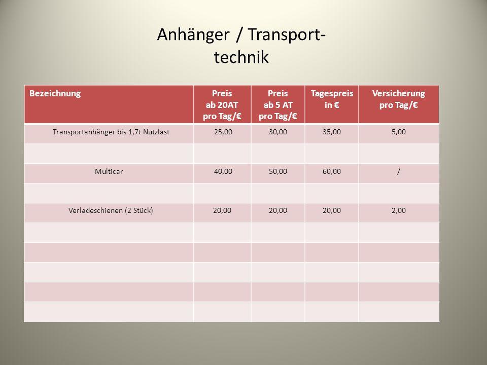 Anhänger / Transport- technik Bezeichnung Preis ab 20AT pro Tag/€ Preis ab 5 AT pro Tag/€ Tagespreis in € Versicherung pro Tag/€ Transportanhänger bis 1,7t Nutzlast 25,0030,0035,005,00 Multicar 40,0050,0060,00/ Verladeschienen (2 Stück)20,00 2,00
