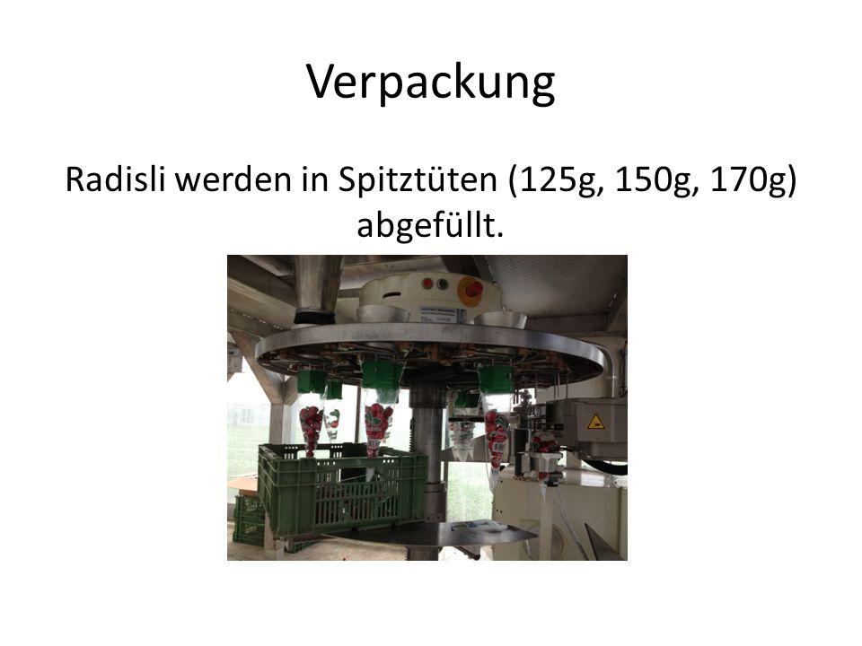 Verpackung Radisli werden in Spitztüten (125g, 150g, 170g) abgefüllt.