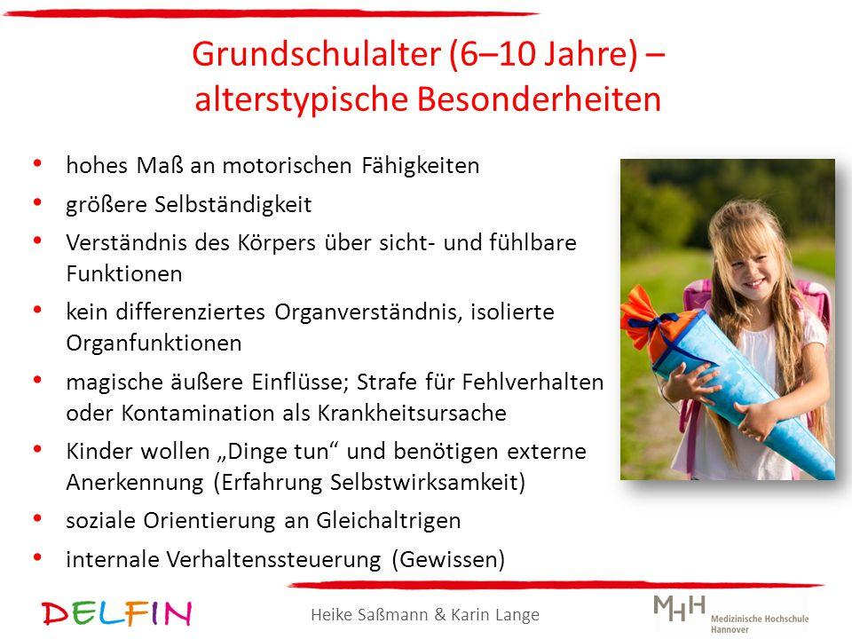 Heike Saßmann & Karin Lange Grundschulalter (6–10 Jahre) – alterstypische Besonderheiten hohes Maß an motorischen Fähigkeiten größere Selbständigkeit