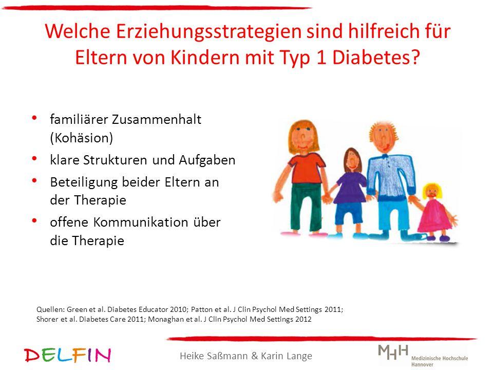 Heike Saßmann & Karin Lange Welche Erziehungsstrategien sind hilfreich für Eltern von Kindern mit Typ 1 Diabetes? familiärer Zusammenhalt (Kohäsion) k