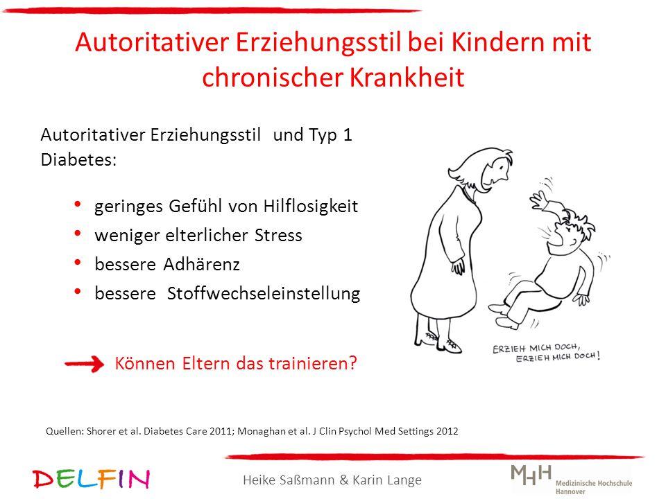 Heike Saßmann & Karin Lange Autoritativer Erziehungsstil bei Kindern mit chronischer Krankheit Autoritativer Erziehungsstil und Typ 1 Diabetes: gering