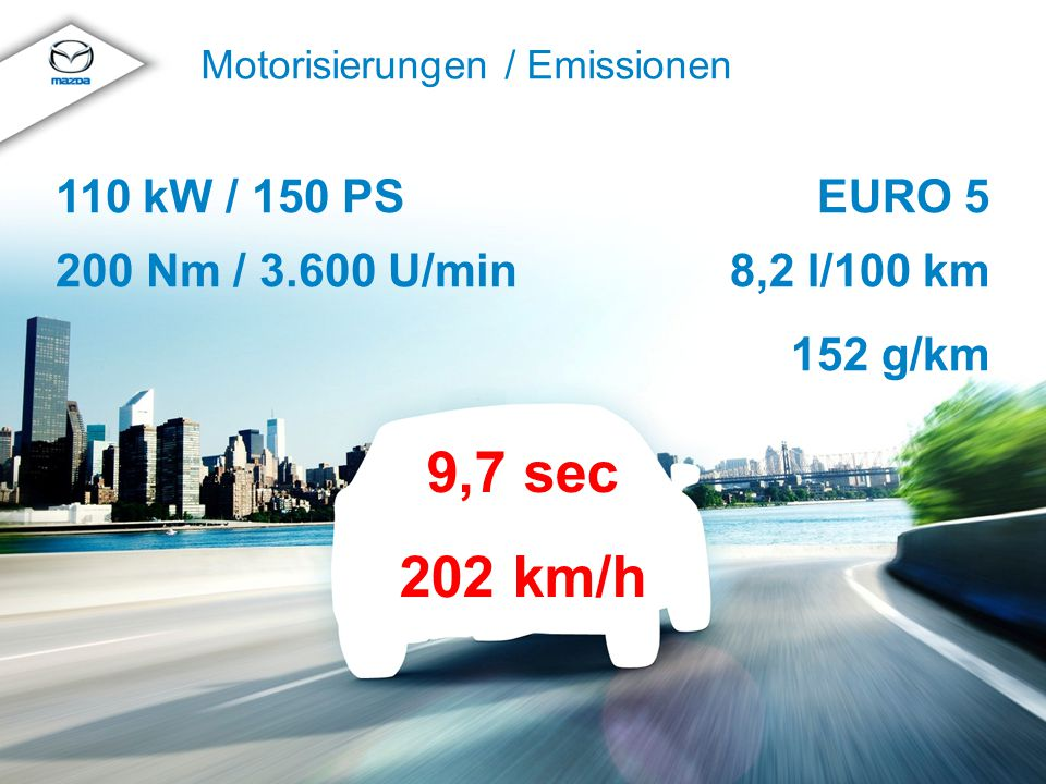 © MazdaMazda CX-5 Produkttraining 2012 Motorisierungen / Emissionen EURO 5 8,2 l/100 km 152 g/km 110 kW / 150 PS 200 Nm / 3.600 U/min 9,7 sec 202 km/h