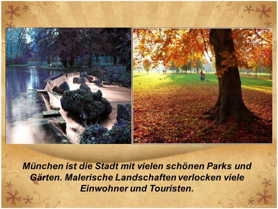 München ist die Stadt mit vielen schönen Parks und Gärten. Malerische Landschaften verlocken viele Einwohner und Touristen.