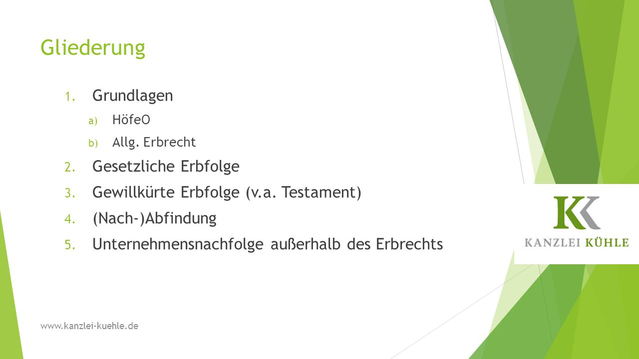 Gliederung 1.Grundlagen a) HöfeO b) Allg. Erbrecht 2.